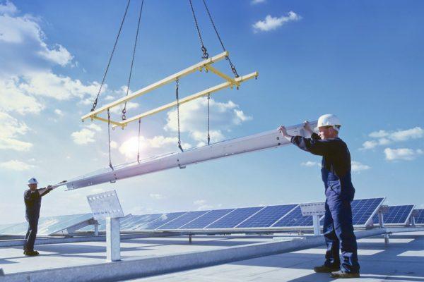 Photovoltaik, Arbeiter, Dach, PV
